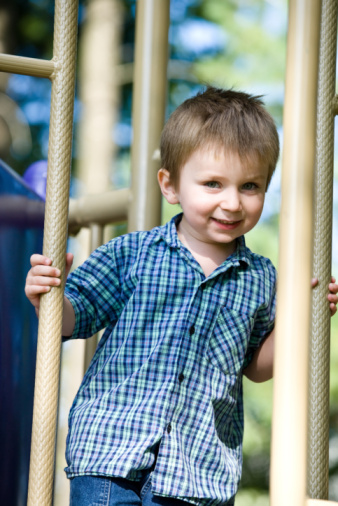 Portrait of boy on playground equipment